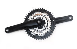 Bike crankset and chainring isolated Royalty Free Stock Photo