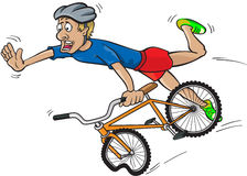Bike crash. Vector illustration of a men having a crash with a bike Royalty Free Stock Photos
