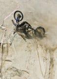 Bike crash on hillside stock photos
