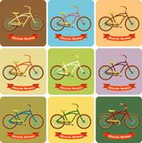 Bike on a creative background. With baners and inscription Stock Illustration