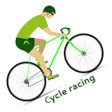 Bike. Cyclist in action. Cycle racing. Bicycle race. Vector illustration Royalty Free Stock Photography