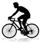 Bike Cyclist Riding Bicycle Silhouette. A bicycle riding bike cyclist in silhouette stock illustration