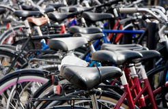 Bike detail at packed bicycle parking Royalty Free Stock Photography