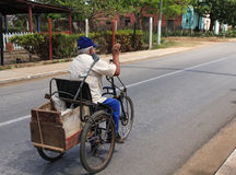 Bike for Disabled. Man with a disability  on a home-made bike in small town Cuba Royalty Free Stock Photo