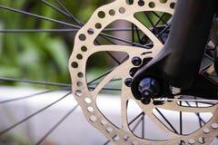 Bike disk brakes. Bicycle disk brakes. Close up Royalty Free Stock Image