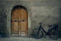 Bike with door Royalty Free Stock Images