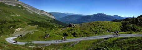 Bike Downhill, Alp Nagens, Graubunden, Switzerland stock images