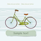 Bike. Drawing of green bike on the blue background Royalty Free Stock Photo