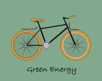 Bike for earth. Green energy with bicycle in green background Royalty Free Stock Images
