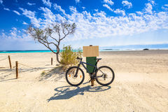 Bike at the Elafonissi beach on Crete Royalty Free Stock Photos