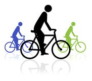 Bike Event. Illustration of three people on bikes Royalty Free Stock Photo