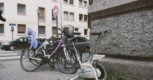 Bike exerciser broken and thrown away stock video