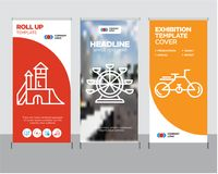 Bike, Ferris wheel, Playground roll up. Bike modern business roll up banner design template, Ferris wheel creative poster stand or brochure concept, Playground Royalty Free Stock Photo