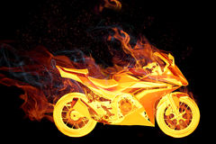Bike in fire Royalty Free Stock Photos