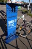 Bike fix station. KHARKIV, UKRAINE - OCTOBER 2, 2016: New bike fix station in Kharkiv near 23 Avgusta subway station Royalty Free Stock Image