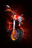 Bike in flames. Illustrated background showing a red bike in flames, depicting power Stock Photos