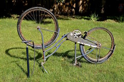 Bike flat tire in the park with old bike Royalty Free Stock Photo