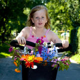 Bike with flowers Stock Photo