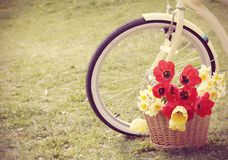 Bike with flowers in a basket Royalty Free Stock Photo