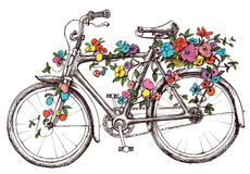 Bike with flowers. Design element for wedding invitations or bridal showers royalty free illustration