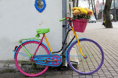 Bike with flowers outdoors Royalty Free Stock Photo