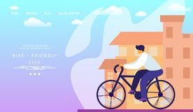Bike Friendly City. Man Riding and Travel Bicycle. royalty free illustration