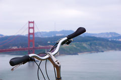 Bike in front of Golden Gate bridge, San Francisco. Royalty Free Stock Image