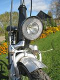 Bike front light. Black color bicycle front light , close up Stock Images