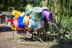 bike full of buckets Stock Image