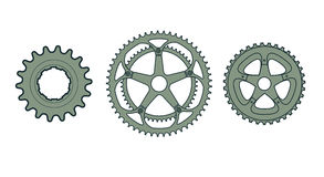 Bike Gear Icons. Three vector illustrations of bike gear icons royalty free illustration