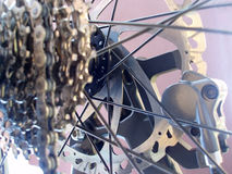 Bike gear mechanism. Detail of a mountain bike gear mechanism and disk brakes Stock Images
