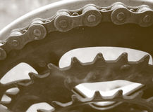 Bike gears. Close-up to a bicycle gears and chain - duotone Royalty Free Stock Images
