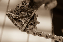 Bike gears with chain (selective focus). Messy close up of bicyc Stock Photo