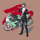 Bike. Girl in helmet with sword and motorbike on the abstract background Stock Photo