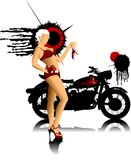 Bike and girl in red Royalty Free Stock Photos