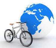 Bike and the globe Royalty Free Stock Photos
