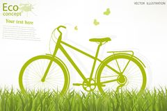 Environmentally friendly world. Bike on a globe. Environmentally friendly world. Illustration of ecology the concept of info graphics modern design. Doodle Stock Photography