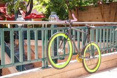 Bike with Green Rims on Banister Stock Image
