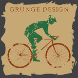 Bike grungy. Cyclist silhouette isolated. Grunge style Stock Photo