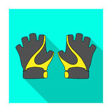 Bike hand gloves for cyclists. Protective equipment for athletes.Cyclist outfit single icon in flat style vector symbol. Stock web illustration Stock Photos