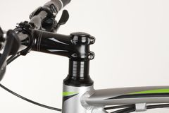 Bike handlebars, close up view, studio photo.  Royalty Free Stock Images