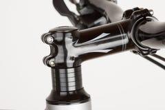 Bike handlebars, close up view, studio photo.  Royalty Free Stock Photos