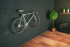 Bike hanging on wall. In modern hispter interior. 3D Rendering Stock Image