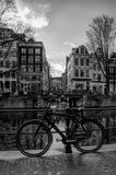 A bike in the heart of Amsterdam. A tipical image of the capital city Amsterdam Royalty Free Stock Image