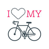 Bike heart vector. With the hipster style modern urban bike in the center of illustration. 100% vector easy to edit illustration vector illustration