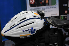 Bike helmet of Montreal City Police. Stock Photo