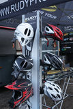 Bike helmets. View of various models of bike helmets from the brand Rudy royalty free stock images