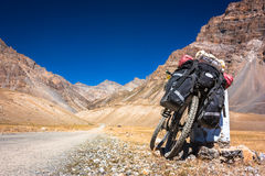 Bike in Himalayas mountains, North India Stock Photography