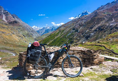 Bike in Himalayas mountains, North India Royalty Free Stock Images