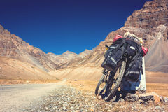 Bike in Himalayas mountains, North India Stock Image
